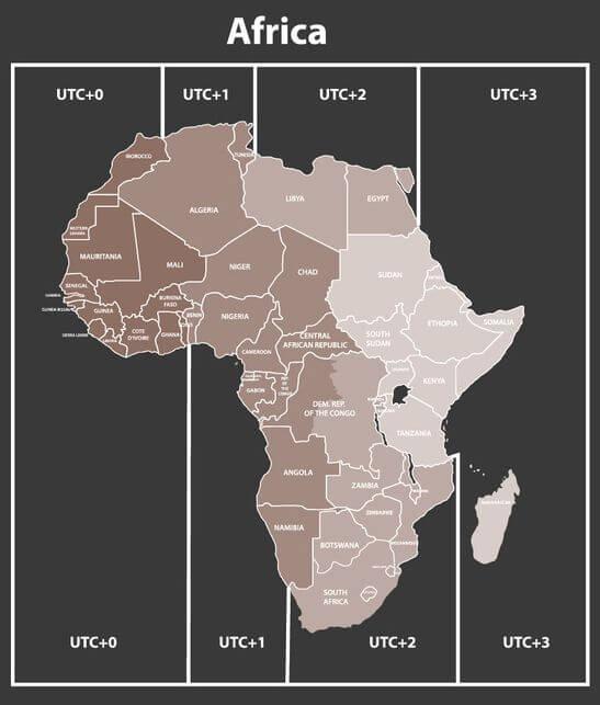 Mapa de zonas horarias de africa
