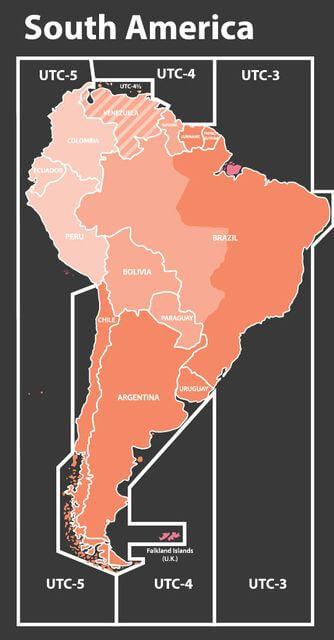 Mapa de zona horaria de América del Sur